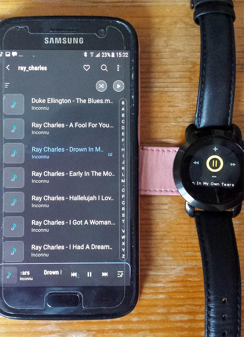 Contrôle de la playlist avec la montre