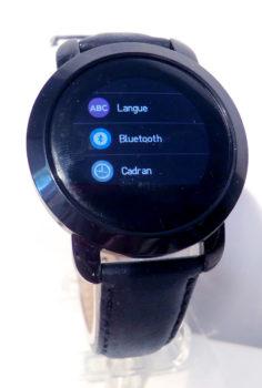 1er sous-menu paramètres de la montre