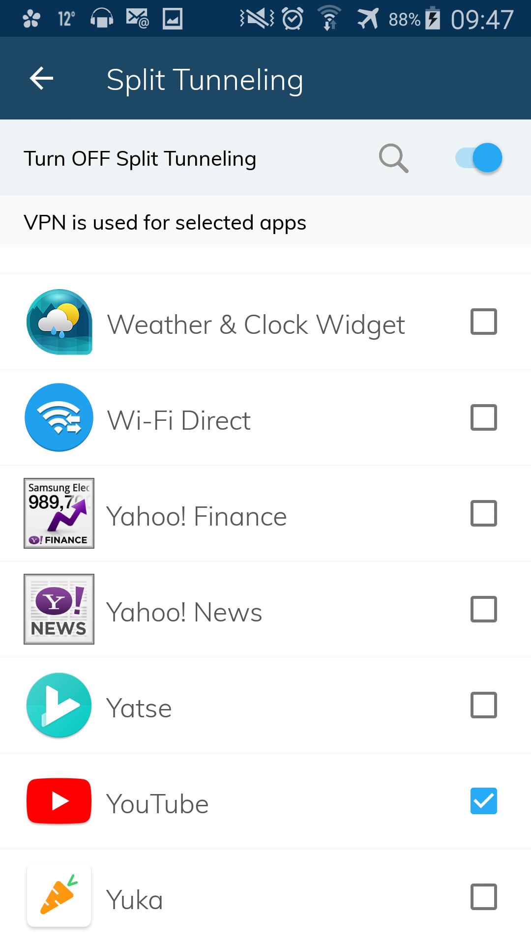 Choix des applications utilisant le VPN
