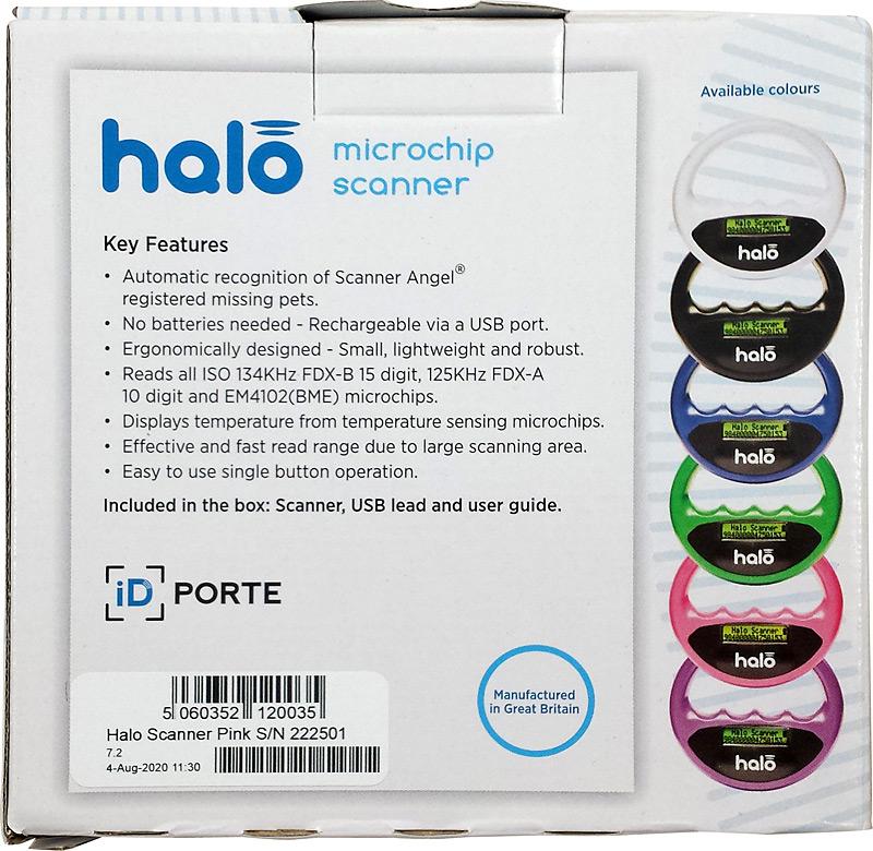 Verso de la boîte du lecteur de puce Halo