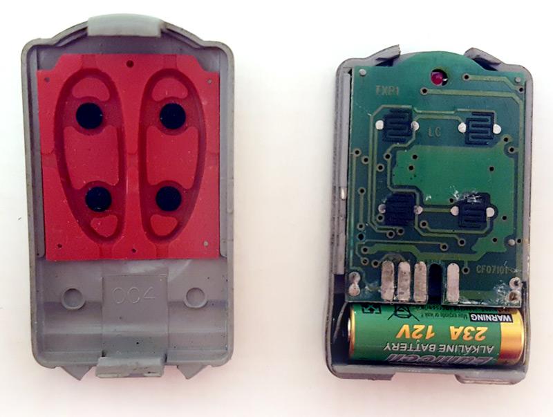 Intérieur de la télécommande