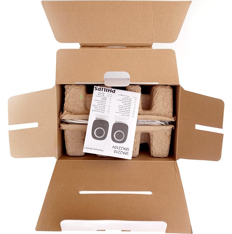 Emballage des enceintes ouvert