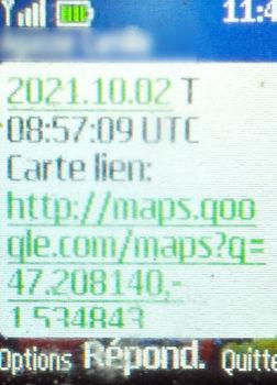 SMS de géolocalisation envoyé par le Doro 6060